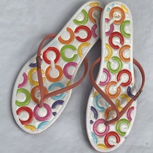 Coach signature colorful jelly flip flop size 9